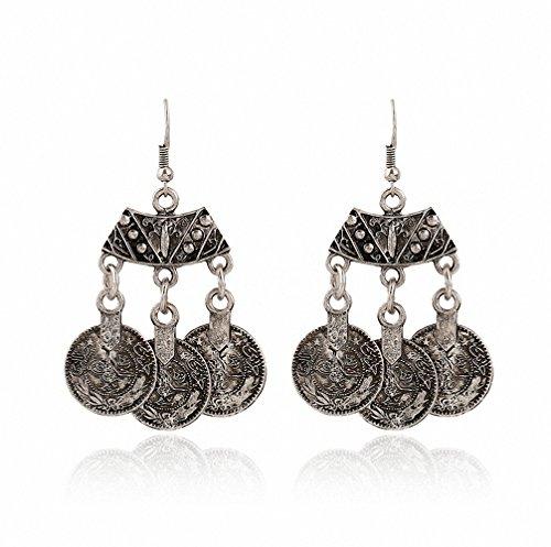 megko Vintage Earrings Dangle Tibetan Silver Coins Bohemian Tassle Drop Boho Earring for women