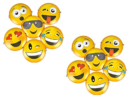 Novelty Treasures Set of 12 EXPRESSIVE Smiley Face Emoji Plastic Masks (Size 8.75