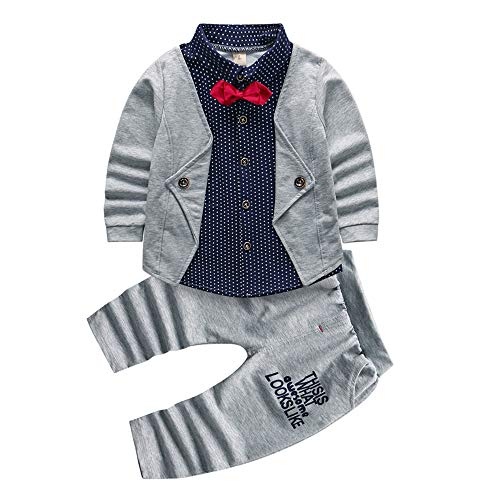 2pcs Baby Boy Dress Clothes Toddler Outfits Infant Tuxedo Formal Suits Set Shirt + Pants (Grey, ()