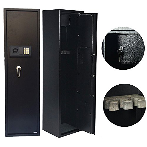 Cu Alightup 5 Rifle Steel Electronic Lock Gun Storage Safe Cabinet Lockbox Firearm with Small Storage Cabinet for Bullets 13 2/5 W x 11 4/5 D x 57
