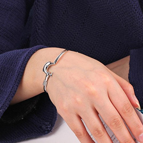 Fheaven Fashion Jewelry Solid Dolphin Clasp Bangle Bracelet Lover's Bracelet Gift