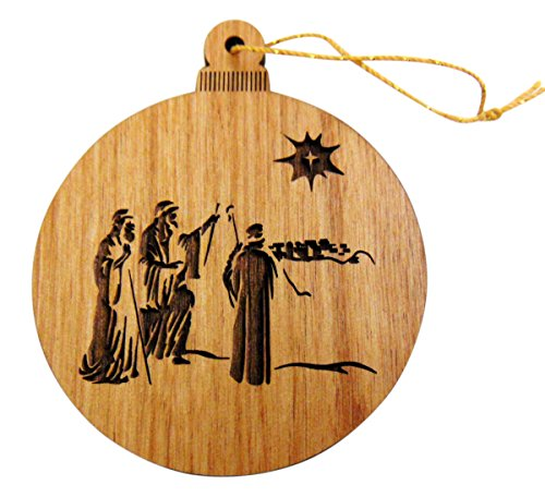 (Christmas Bulb Shaped Flat Wooden Nativity Scene Ornament Made in the USA, 3 Inches)