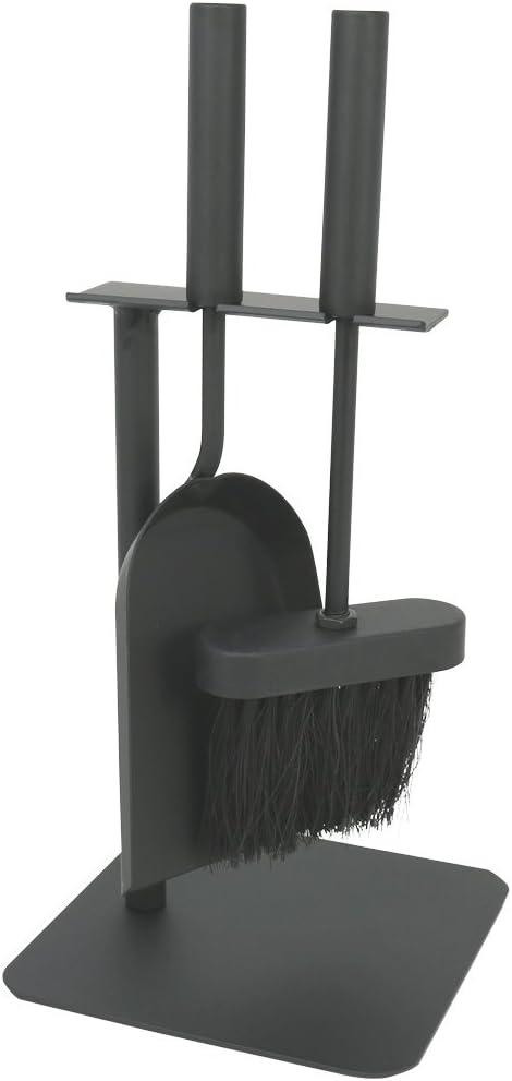 com-four® 3 Piezas Conjunto de Chimenea de en Negro en un tamaño Compacto de Metal, con Pala, Escoba y Soporte, Ideal para Estufas (003 Piezas de Cubiertos)