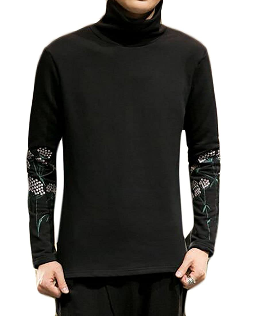 Smeiling Mens Fashion Casual Slim Fit High Neck Embroidered Stretchy Tshirts