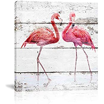 K-Road Flamingo Canvas Wall Art Painting Animal Picture Frame Bathroom Poster Vintage Room Decor (flamingo-2 12