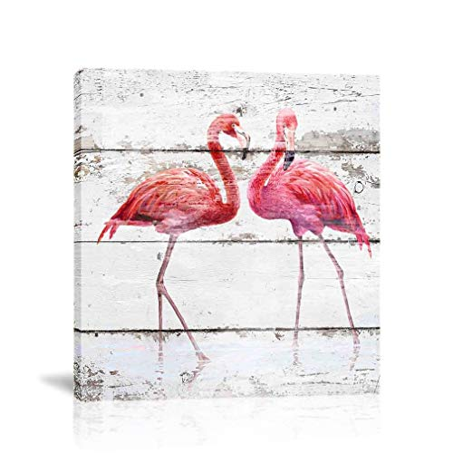 Flamingos Decor - K-Road Flamingo Canvas Wall Art Painting Animal Picture Frame Bathroom Poster Vintage Room Decor (flamingo-2 12