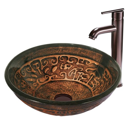 VIGO Golden Greek Glass Vessel Bathroom Sink and Seville Vessel Faucet with Pop Up, Oil Rubbed (Raised Vessel Faucet)