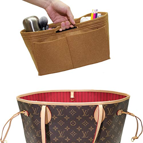 LEXSION Felt Handbag Insert Organizer Bag In Bag with Two Removeable Holder Light Brown Large