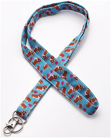 Corgi Hund Lanyard ID Holder Baumwolle Stoff Vorschule Lanyard Lehrer Geschenk Coworker Geschenk für Ihre Boss