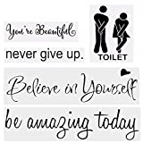 ZMOCEN 5pcs Vinyl Mirror Wall Decals Quotes Stickers for Living Room Bathroom Washroom Mirror Window Home Wall Decor Waterproof Removable DIY Art Stickers