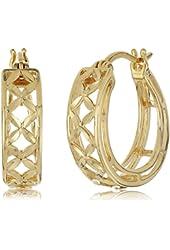 18k Yellow Gold Plated Sterling Silver Diamond Cut Hoop Earrings
