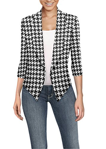 Womens Casual Work Office Open Front Blazer JK1133 X 10280 Black/Whit 2X