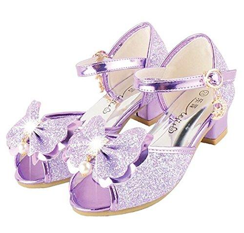 Bumud Kid's Fashion Little Girl's Glitter Pretty Party Dress Pumps Sandals (12 M US Little Kid, Purple) (Pretty Fashion Girl)