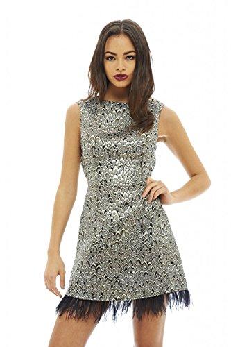 AX Paris Women's Feather Edged Metallic Dress(Silver, Size:8)