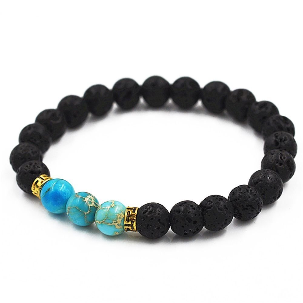 Heelinna Black Natural Volcanic Stone Stretchable Buddha Beads Bracelets for Men
