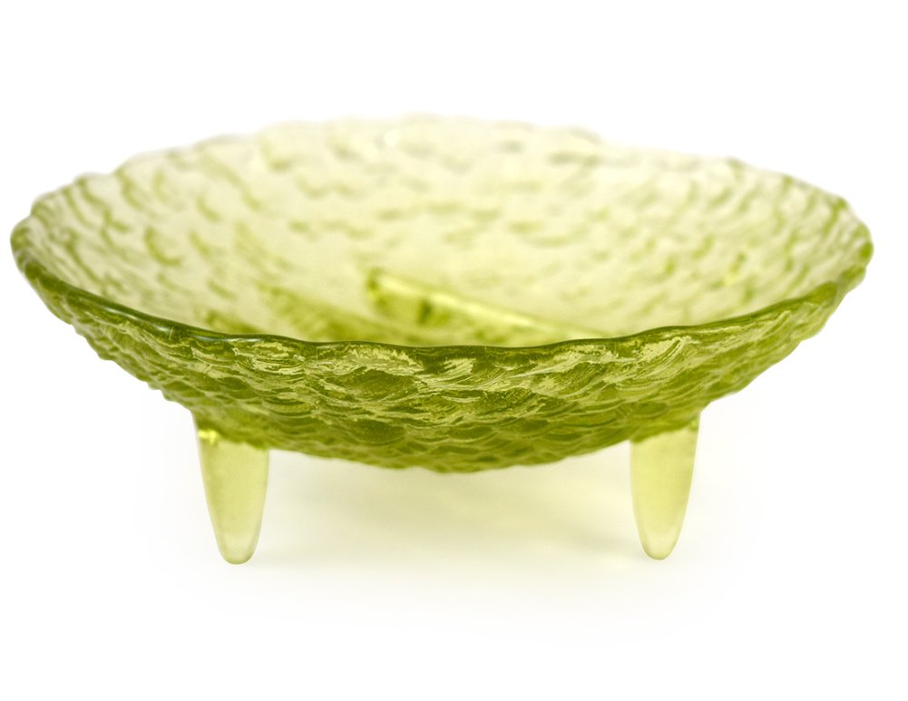 American Made Footed Pebble Artisan Glass Soap Dish, Chartreuse Green Color
