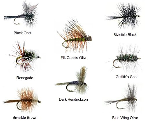 Fly Fishing Trout Flies Assortment - 32 Flies and Fly Box - 8 PATTERNS Black Gnat, Renegade, Griffith's Gnat, Bivisible Brown / Black, Elk Hair Caddis Olive, Dark Hendrickson, Blue Wing Olive 4 Sizes