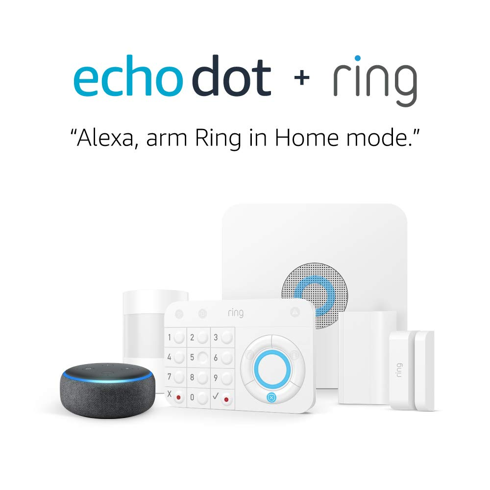 Ring Alarm 5 Piece Kit 1st Gen with Echo Dot Works with Alexa