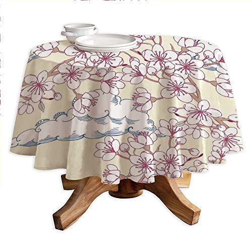 "House Decor Round Polyester Tablecloth,Illustration with Cherry Blossoming Sakura and Floating Clouds Spring Flower Tree Art,Dining Room Kitchen Round Table Cover,42"" Tablecloth Pink Blue White"