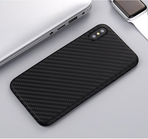Black Carbon Fiber iPhone X Ultra Thin Case / Lightweight / Textured Anti-Slip / Scratch Resistant / Slim Peel Type Removable Cover / Supports Wireless Charging
