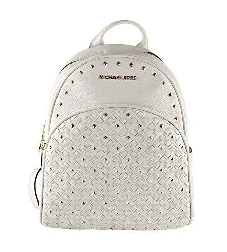 Michael Kors Abbey Signature PVC Leather Medium Backpack Purse (Vanilla Studded)