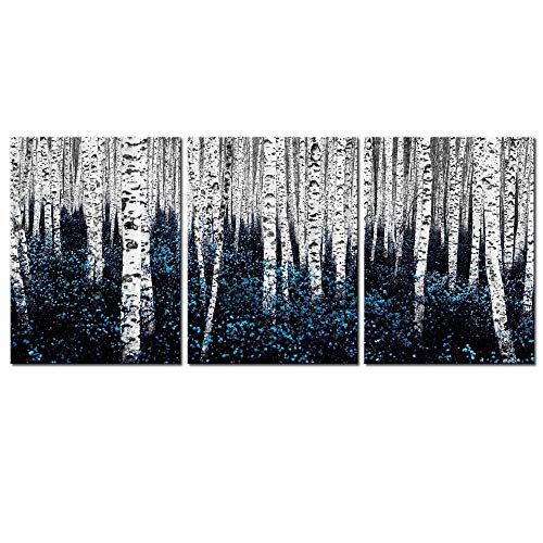 sechars - Birch Tree Canvas Wall Art Blue Forest Pictures Teal Gray Aspen Painting Modern Landscape Canvas Art Turquoise Wall Decor for Bathroom Bedroom Decor Set of 3 ()
