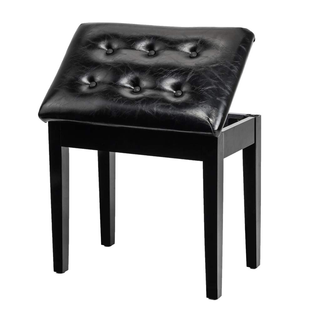 Bonnlo Padded Wooden Piano Bench with Music Storage Keyboard Stool Artist Benches Stool Tufted Seat,Black