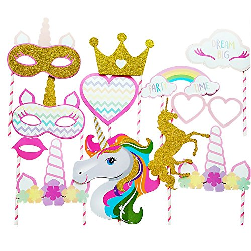 2018 Gold Unicorn and Crown Party Supplies,Rainbow Colorful Unicorn Large Photo Booth Props(12 pcs-Fully Assembled)for Girls kids Birthday Baby Shower Party