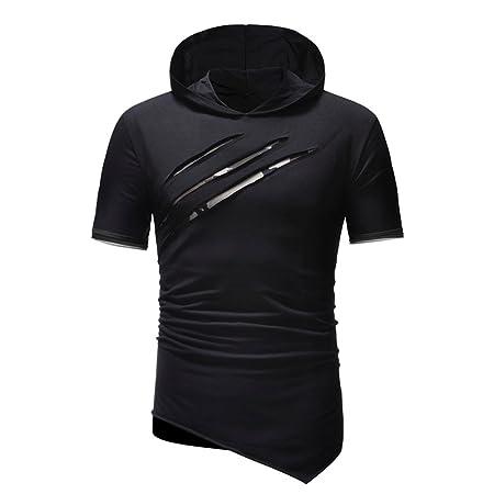 Hombre camiseta manga corta,Sonnena ❤ Camisa de color puro de los hombres de la personalidad de la moda Sudadera con capucha deportiva de manga corta ...