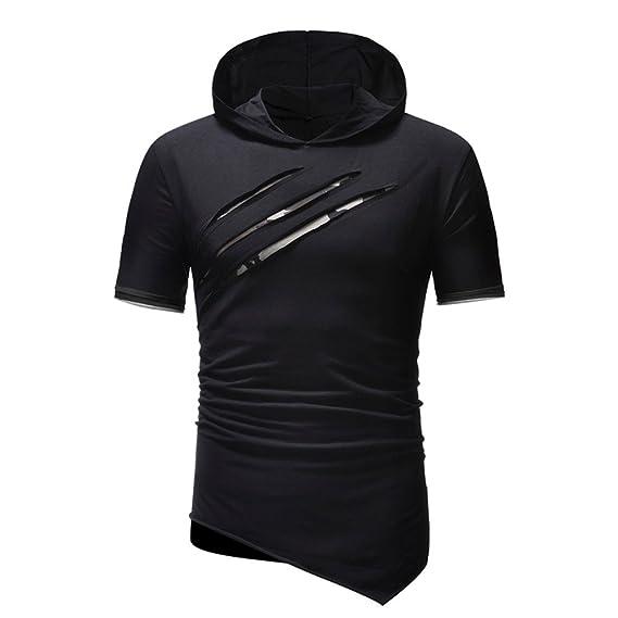 Camiseta para Hombre, Verano Manga Corta Color sólido Sudadera con ...