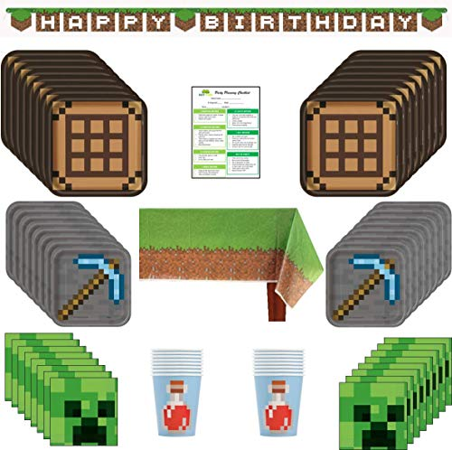 Minecraft Decorations Party - Minecraft Inspired Birthday Party Supplies Pack: