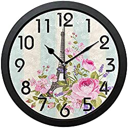 Silent Farmhouse Wall Clock-Kids Room Wall Clock-Romantic Eiffel Tower Flowers Elegant Stripe Round Wall Clock Decorative, Battery Operated Quartz Analog Quiet Desk Clock for Home,Office,School,10in