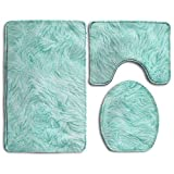 Bath Mat,3 Piece Bathroom Rug Set,Mint Green Flannel Non Slip Toilet Seat Cover Set,Large Contour Mat,Lid Cover For Men/Women