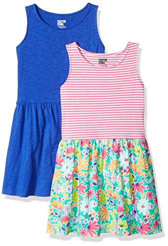 - Amazon Brand - Spotted Zebra Girls' Toddler 2-Pack Knit Sleeveless Fit and Flare Dresses, Floral Stripe/Blue, 2T