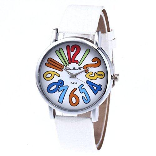 Couple Quartz Watch, Wrist Watch with Colorful Number Dial and PU Leather Strap Watch for Lover(White)