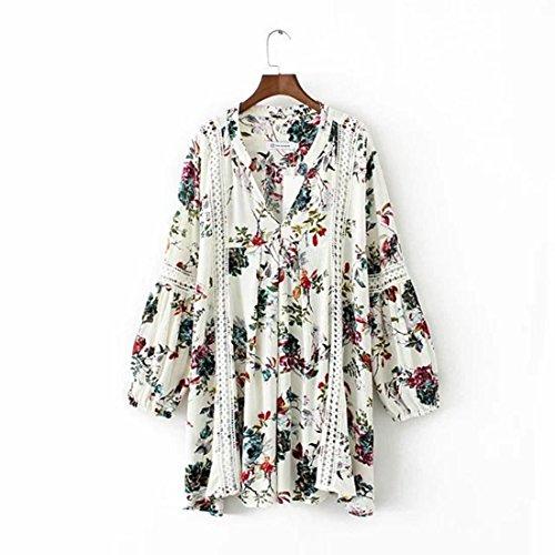 La nueva primavera y la impresión de la camisa V-cuello de la manera ahuecan hacia fuera otoño faldas del vestido de la mujer White