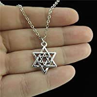 Jaywine2 18 Chain Alloy Collar Short Necklace Silver Two Star of David Jewish Pendant
