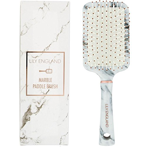 Lily England Paddle Brush Best for Detangling, Straightening Hair and Blowdrying - Marble (Best Paddle Brush For Blow Drying)