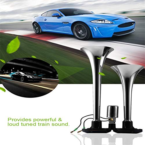 24V 128DB Electric Air Horn Super Loud Dual Trumpet Air Horn Powerful Metal Vehicle Horn For Car Truck Train Lorry Boat