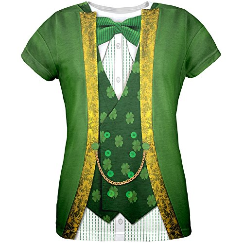 St. Patricks Day Leprechaun Costume All Over Womens T-Shirt - X-Large - Cheap Leprechaun Costumes