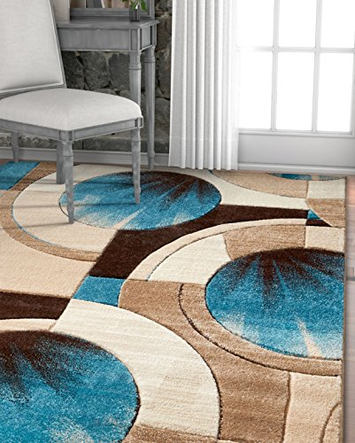 Carved Wood Hand Floors (Well Woven Sunburst Blue, Beige, Brown Modern 8x10 8x11 (7'10