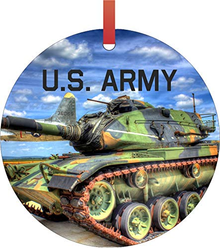 Rosie Parker Inc. U.S. Army Semigloss Flat Round Shaped Ornament Xmas Tree Christmas Décor - Christmas Room Décor and Ornament Yard Decorations