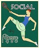 "13x19"" Cuban Deco poster""Girl Tennis player""1930 sport Art.Home interior design.531"