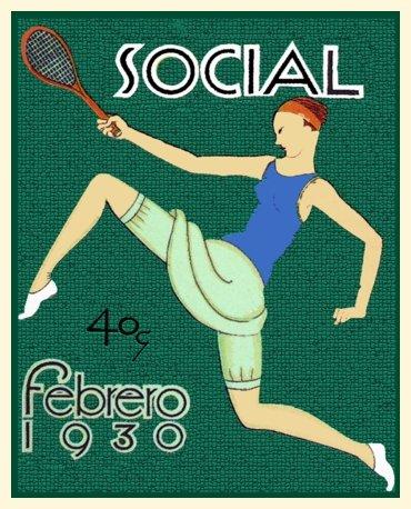 Cuban Deco poster Girl Tennis player 1930 sport Art.Home interior design.531