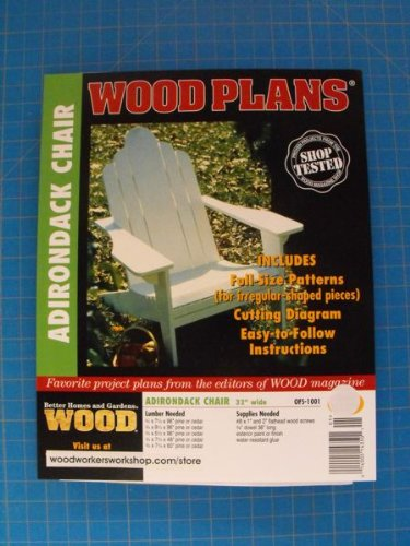 A Full Size Woodworking Pattern and Instructions to Build a Adirondack Lawn Chair (Adirondack Pattern Chair)