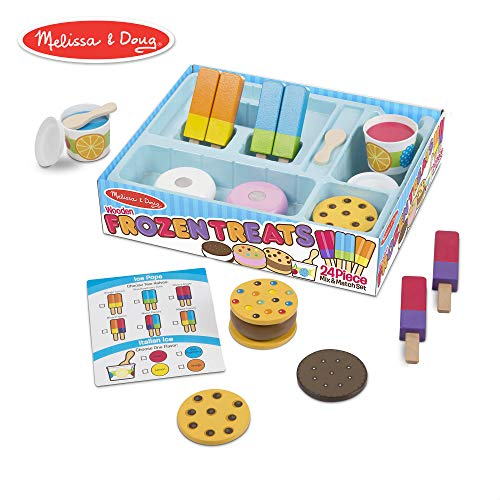 Melissa & Doug Frozen Treats Set, Pretend Play Food, Durable Wooden Construction, Helps Develop Skills, 24 Pieces, 13.2