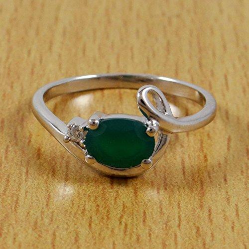 Banithani 925 bague de mode en argent onyx vert pierre bijoux