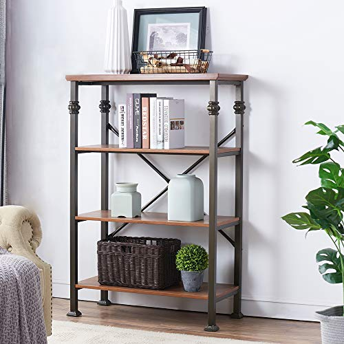 - O&K Furniture 4-Shelf Industrial Open Bookcase, Wood and Metal Vintage Etagere Bookshelf, Maple