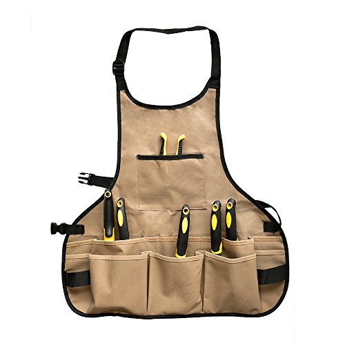 BOJECHER Tool Apron - Professional Heavy Duty Work Apron with 14 Tool Pockets and Adjustable Belt Water-resistant Garden Tool Apron for Men & Women, Brown (Tools Garden Works)