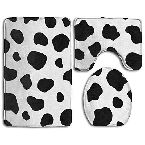 Cow Spots Bathroom Rug Mats Set 3 Piece- Memory Foam Extra Soft Shower Bath Rugs ¨C Contour Mat and Lid Cover -(20